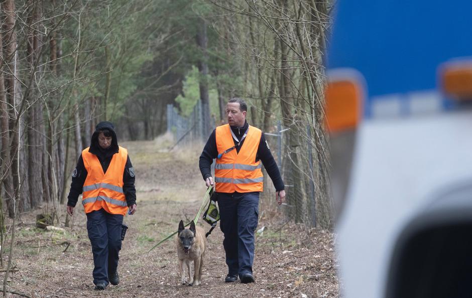 Hundeführer der Polizei gehen bei Kummersdorf (Oder-Spree) durch ein Waldstück, wo die Beamten nach der vermissten Rebecca suchten.