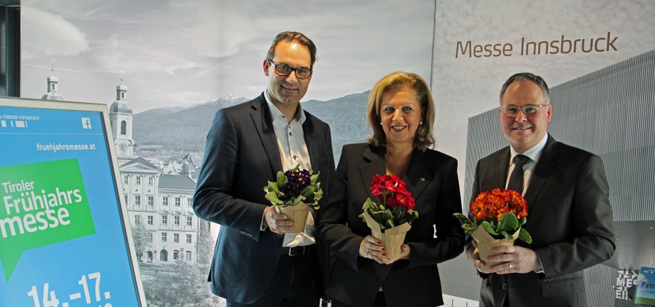 Christoph Walser (Wirtschaftskammerpräsident), Patrizia Zoller-Frischauf (Landesrätin) und Christian Mayerhofer (Messedirektor), v.l.n.r.