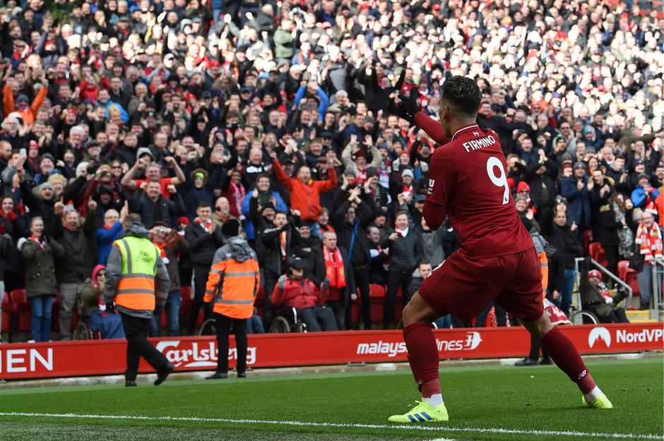 Roberto Firmino durfte zwei Mal zum Torjubel vor den Liverpool-Fans abdrehen.