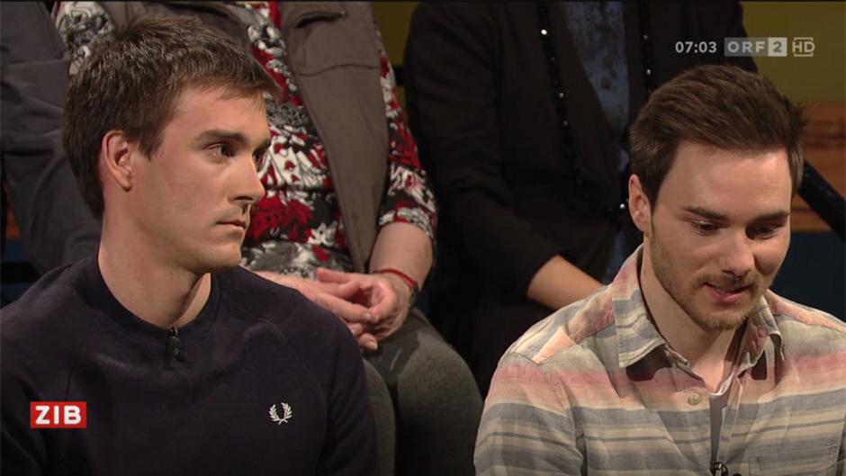 """Max Hauke und Dominik Baldauf in der ORF-Sendung """"Im Zentrum"""" zum Thema Doping."""