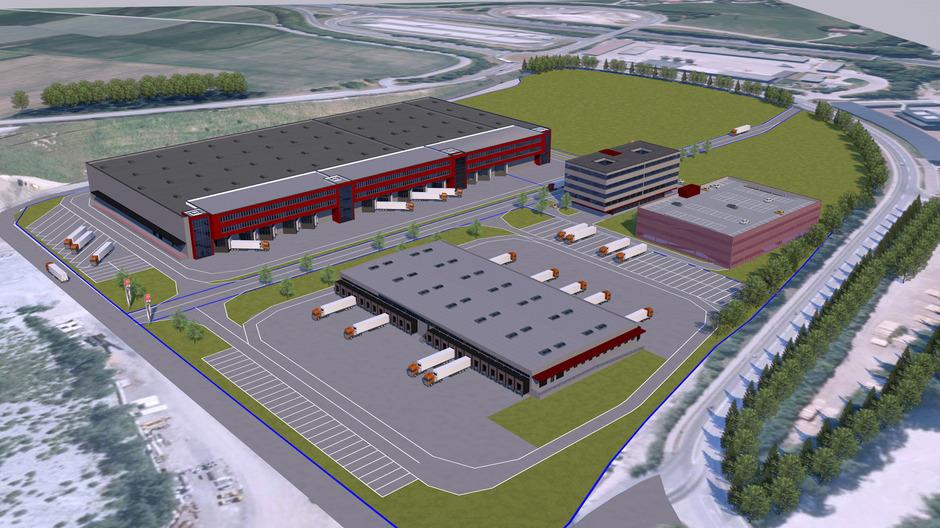 So könnte das Logistikzentrum nach Plänen, die DB Schenker vor einem Jahr vorlegte, aussehen.