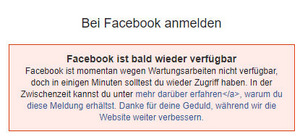 Fehlermeldung bei Facebook.