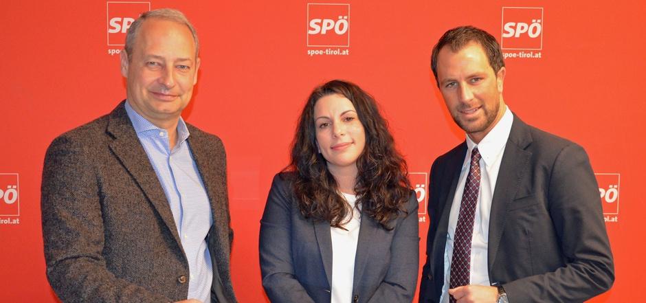 Schieder und Muigg wollen nicht nur in Tirol das stärkste SPÖ-Ergebnis einfahren. SP-Chef Dornauer hofft auf das größte Plus (v.l.).