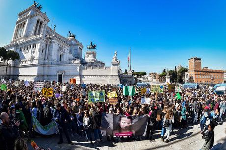 Auch in Rom wurde protestiert.