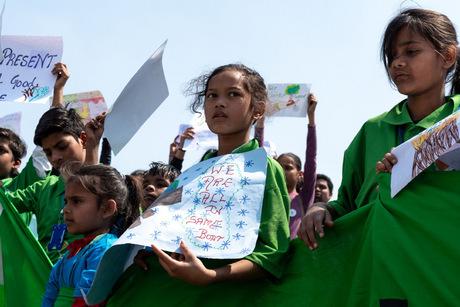 Proteste in Neu-Delhi.