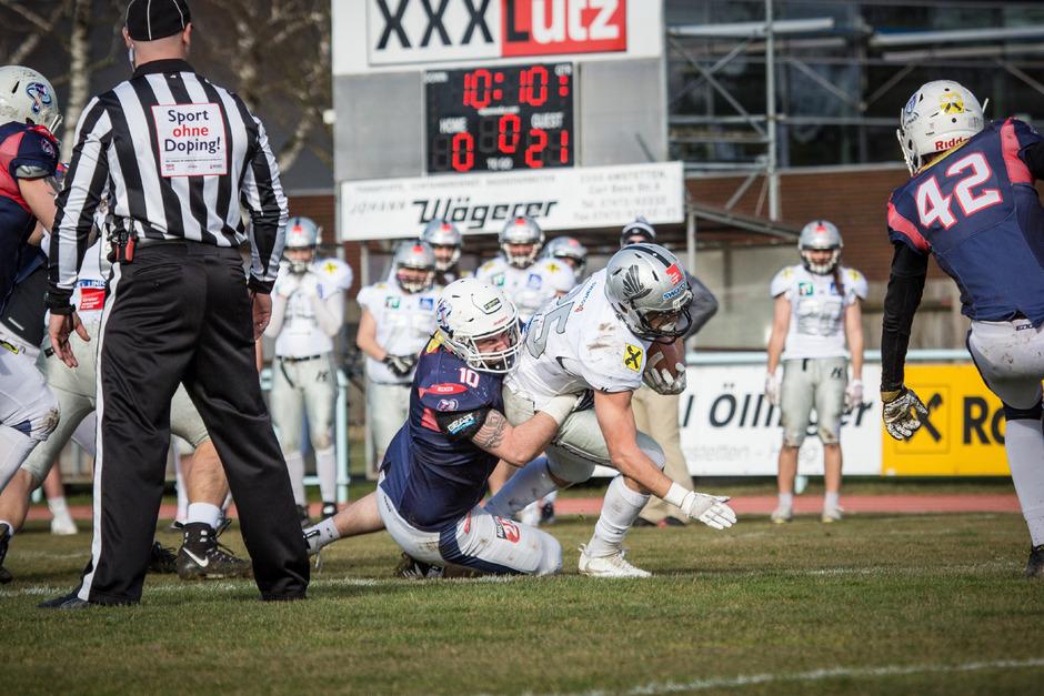 Raiders-Runningback Tobias Bonatti und seine Mitstreiter waren vom Gegner aus Amstetten kaum zu halten.