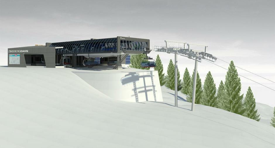 Die neue Zinsbergbahn wird kombiniert mit Sesseln und Gondeln die Gäste auf den Berg bringen.