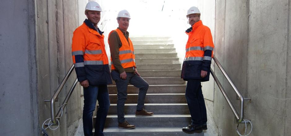 Die Projektkoordinatoren Oliver Brantweiner und Hans Georg Klobucaric sowie Projektleiter Harald Schreyer (v.l.; alle ÖBB-Infrastruktur AG) gaben den Medien schon gestern Einblick.