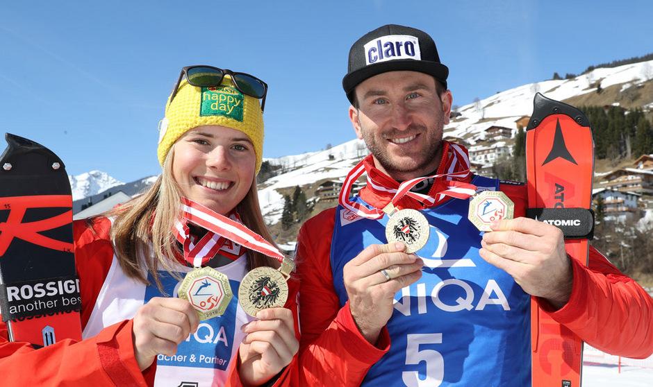Die rot-weiß-roten Slalommeister: Katharina Liensberger und Marc Digruber.