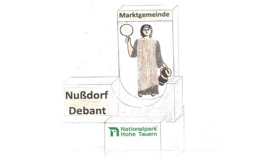 Dieser Entwurf zeigt die neuen Ortseinfahrten von Nußdorf-Debant, bestehend aus drei Betonelementen und Cortenstahl.