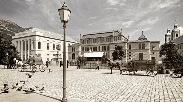 Steht man vor der Hofburg, schweift der Blick hinüber zum Stadttheater und zu den damaligen Stadtsälen.