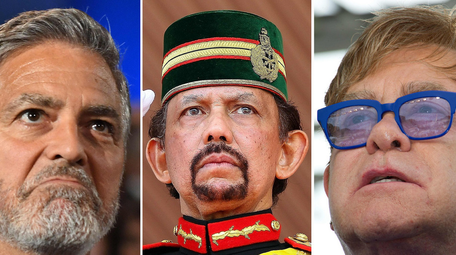 Schauspieler George Clooney, Sultan Hassanal Bolkiah und Musiker Elton John.