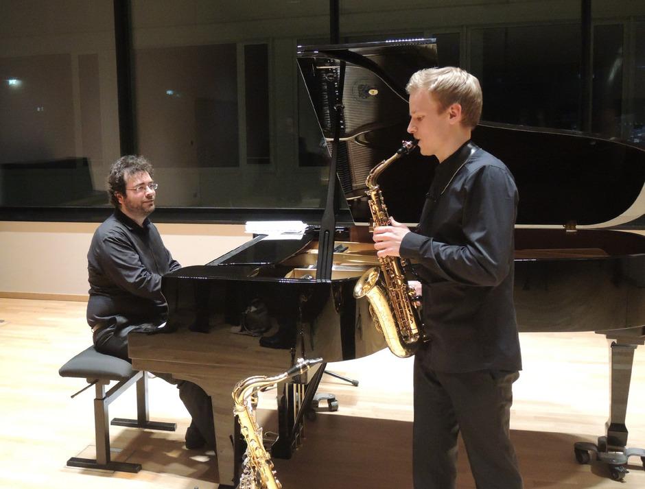 Andreas Mader (Saxophon) und Christos Papandreopoulus präsentierten ihre Debüt-CD.