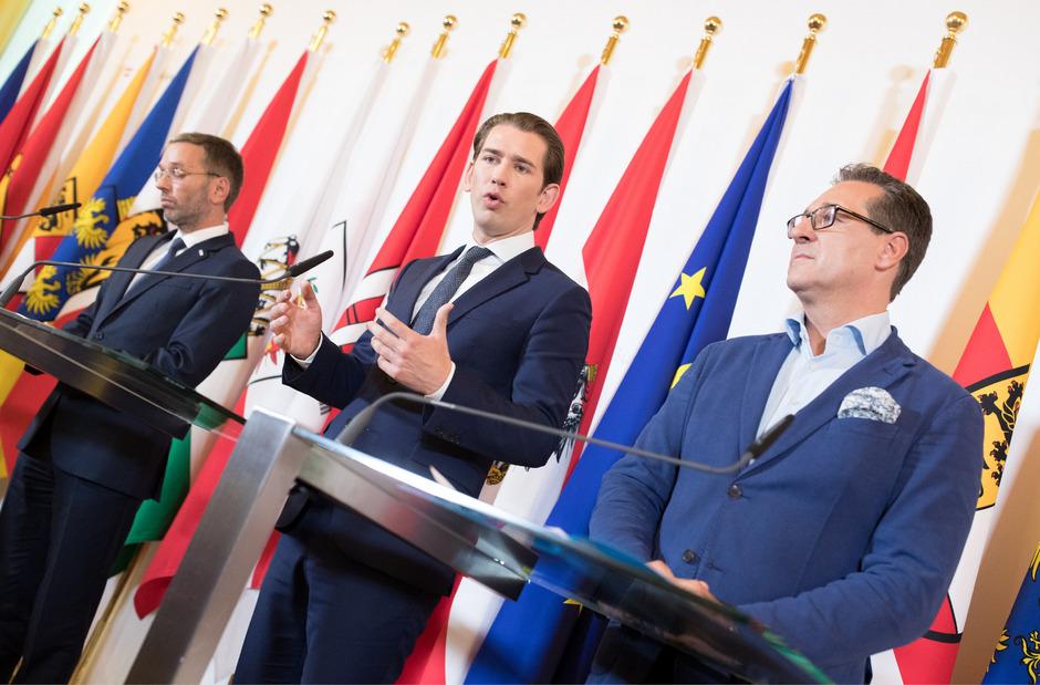Innenminister Herbert Kickl (FPÖ), Bundeskanzler Sebastian Kurz (ÖVP) und Vizekanzler Heinz-Christian Strache (FPÖ).