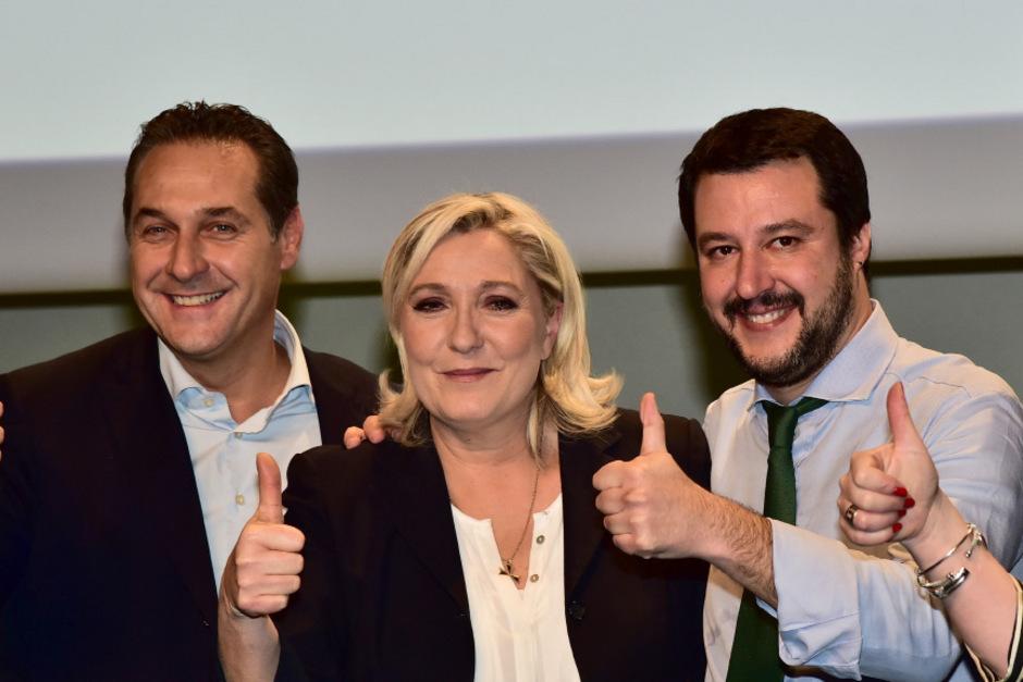Heinz Christian Strache (FPÖ), Marine Le Pen (RN) und Matteo Salvini (Lega).