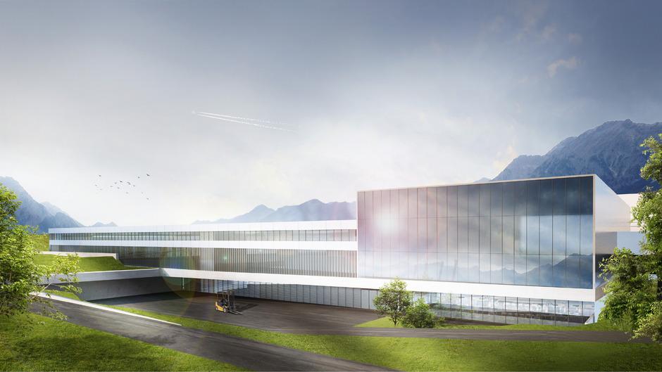 Eine Visualisierung der hochmodernen und 53 Mio. Euro teuren Kristallfabrik, die heuer im September in Wattens anlaufen soll.