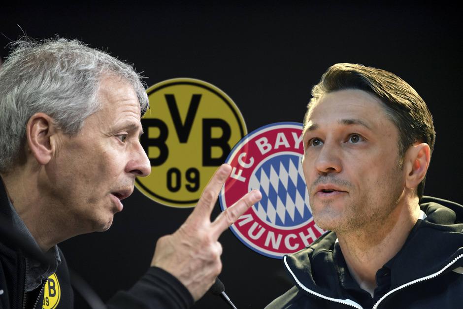 Auch auf der Trainerbank winkt ein heißes Duell zwischen Lucien Favre (Dortmund, l.) und Niko Kovac (FC Bayern).