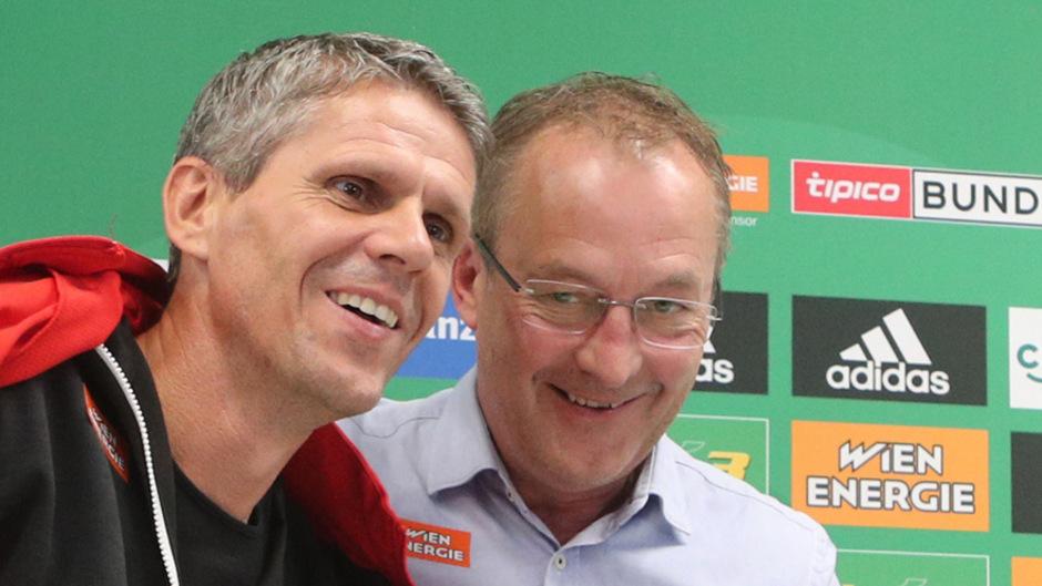 Da war die Welt noch in Ordnung – Anfang Oktober präsentierte Fredy Bickel, Rapids Geschäftsführer Sport, Didi Kühbauer noch als neuen Cheftrainer. Die Zusammenarbeit wird mit dieser Saison enden.