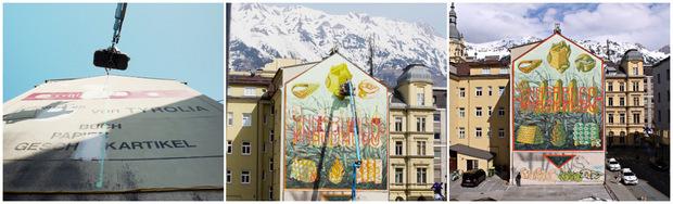 Vorher war die Hauswand eine Werbefläche der Tyrolia.
