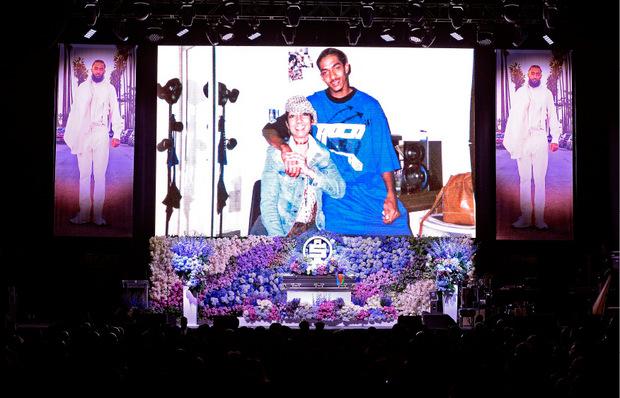 Während der Trauerfeier im  Staples Center wurden viele Bilder des Rappers gezeigt.