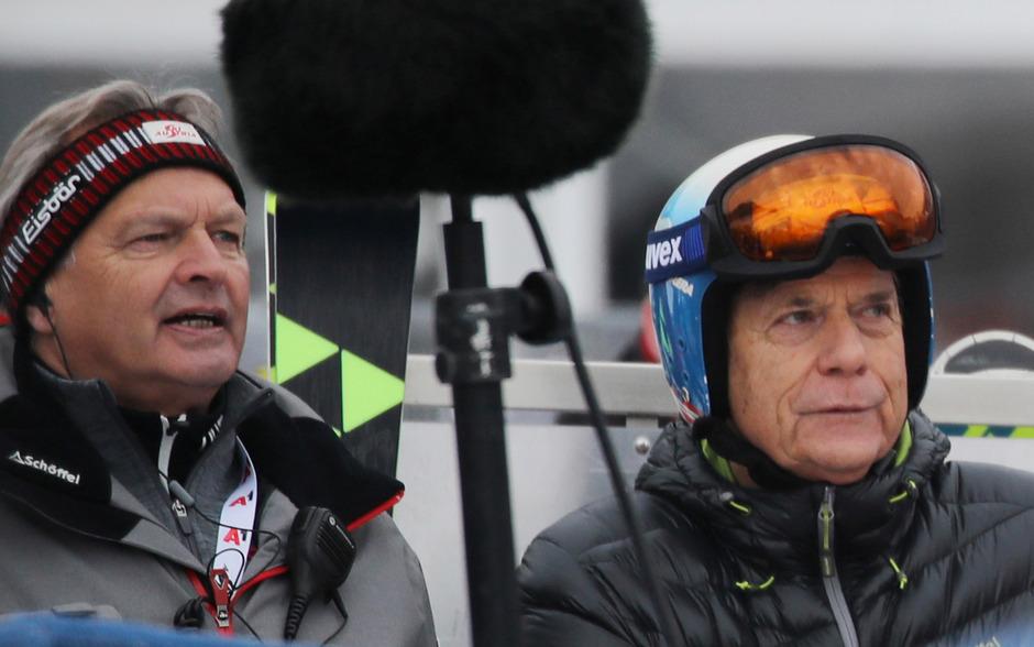 Hans Pum (l.) verabschiedet sich in die Pension, ÖSV-Präsident Peter Schröcksnadel wurde davon überrascht.