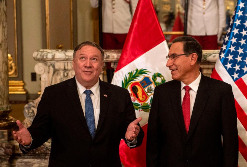 US-Außenminister Mike Pompeo (l.) mit dem peruanischen Präsidenten Martin Vizcarra.