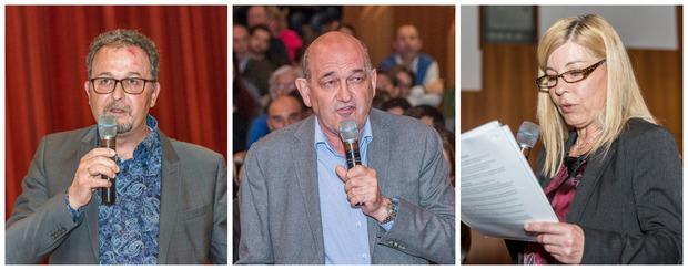 Meldeten sich aus dem Publikum zu Wort: der Natterer Bürgermeister Karl-Heinz Prinz, Ärztekammer-Vorstand Ludwig Gruber und Ines Viertler, die für den Gesundheits- und Krankenpflegeverband sprach (v.l.).