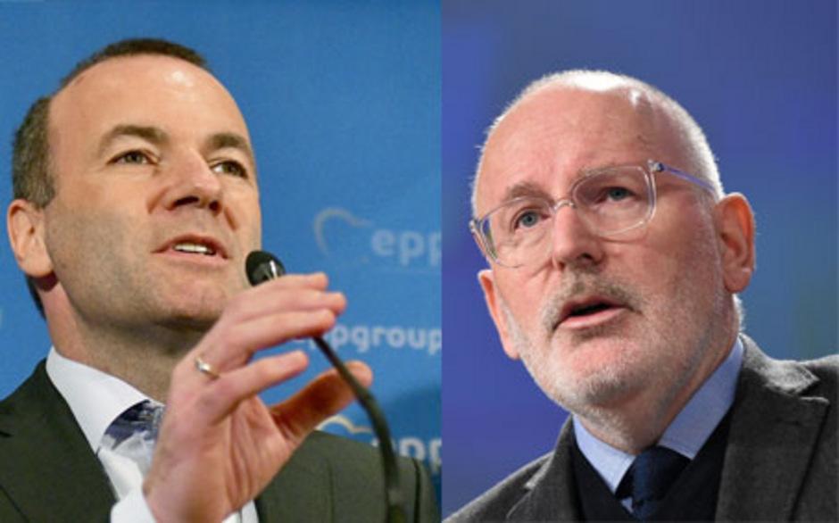 Die Spitzenkandidaten Manfred Weber (l, EVP) und Frans Timmermans (SPE).