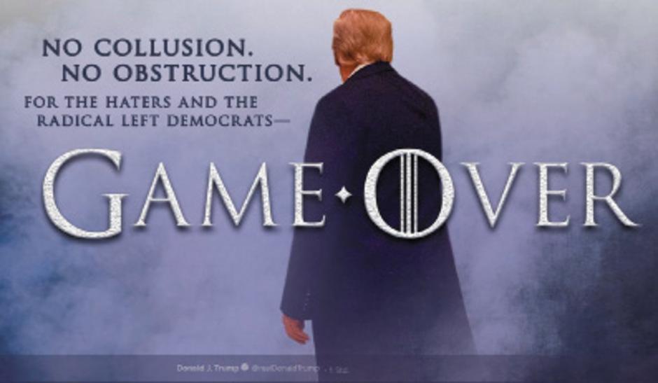 """Fotomontage, die Donald Trump gestern via Twitter verbreitete: """"Keine Absprache. Keine Behinderung. Für die Hasser und die radikal linken Demokraten – das Spiel ist vorbei""""."""