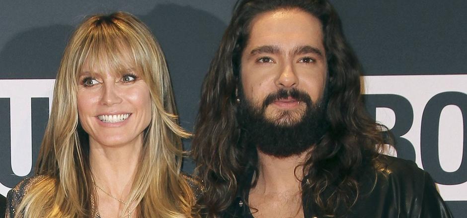 """Heidi Klum zeigte sich bei den """"About You""""-Awards im heißen Tiger-Outfit. Tom Kaulitz zog den legeren Schlabber-Look vor."""