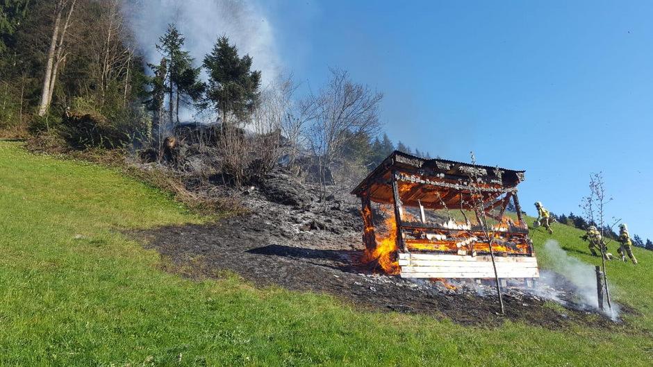 Derzeit ist die Feuerwehr noch vor Ort um einen eventuellen Waldbrand zu vermeiden.
