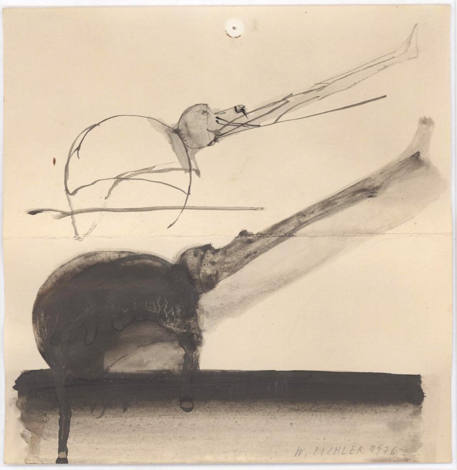 """Eine von acht Zeichnungen Walter Pichlers, die neben seiner Skulptur """"Lehmkopf"""" vom Land Tirol angekauft worden sind."""