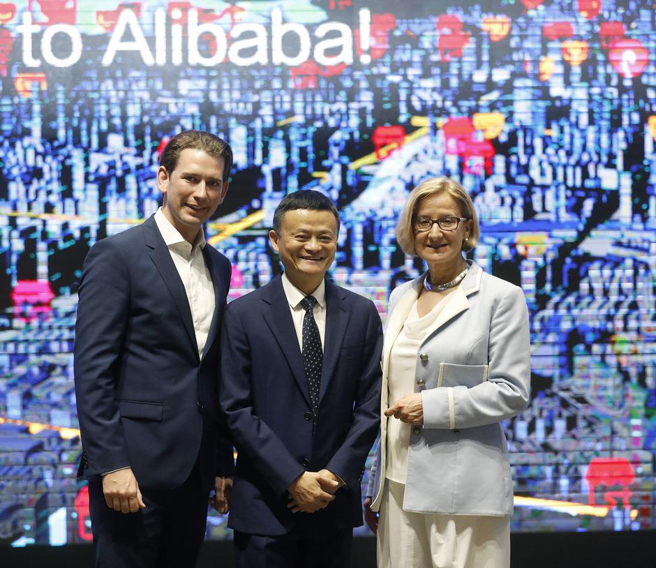 Im China von morgen: Bundeskanzler Sebastian Kurz und Niederösterreichs Landeshauptfrau Johanna Mikl-Leitner zu Besuch bei Alibaba-Gründer Jack Ma in Hangzhou.