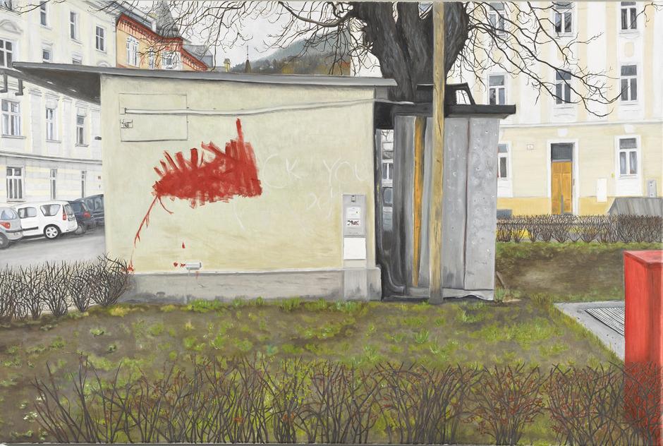 Die sechste Station (Ausschnitt) auf Milena Mellers sehr privatem gemalten und fotografierten Parcours durch Innsbruck.