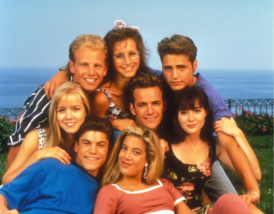 """Shannen Doherty spielte in der früheren TV-Kultserie """"Berverly Hills, 90210"""" Brenda Walsh (ganz rechts)."""