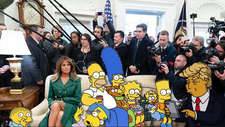 Auch die Simpsons müssen mit auf die Couch. Zahlreiche Fotomontagen des Geburtstagsfotos von Melanie Trump kursieren im Netz.