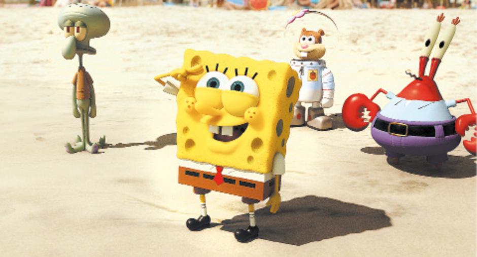 Die Zeichentrickfigur Spongebob Schammkopf und seine Begleiter.