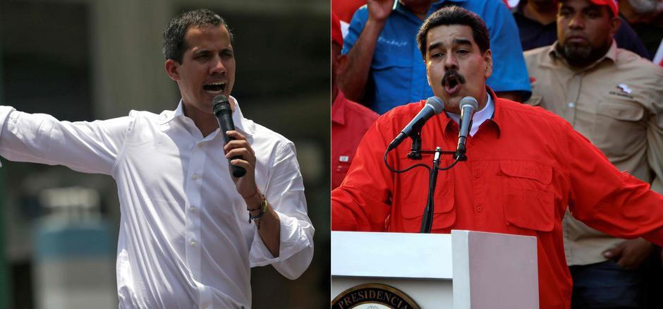 """Er erbitterte Kampf geht weiter: Mit dem Aufruf, zu streiken, hat Interimspräsident Juan Guaidó (l.) wieder Bewegung hineingebracht. Nicolás Maduro (r.) will mit dem """"heiligen Feuer der militärischen Werte"""" dagegentreten."""