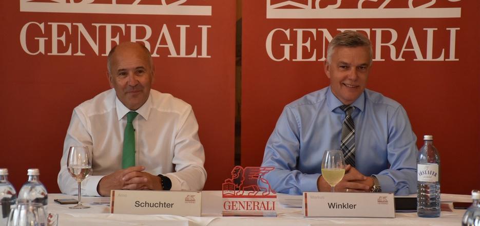 Arno Schuchter (l.), Generali-Vorstand, und Markus Winkler, Generaldirektor für Tirol und Vorarlberg, sind mit der Entwicklung zufrieden.