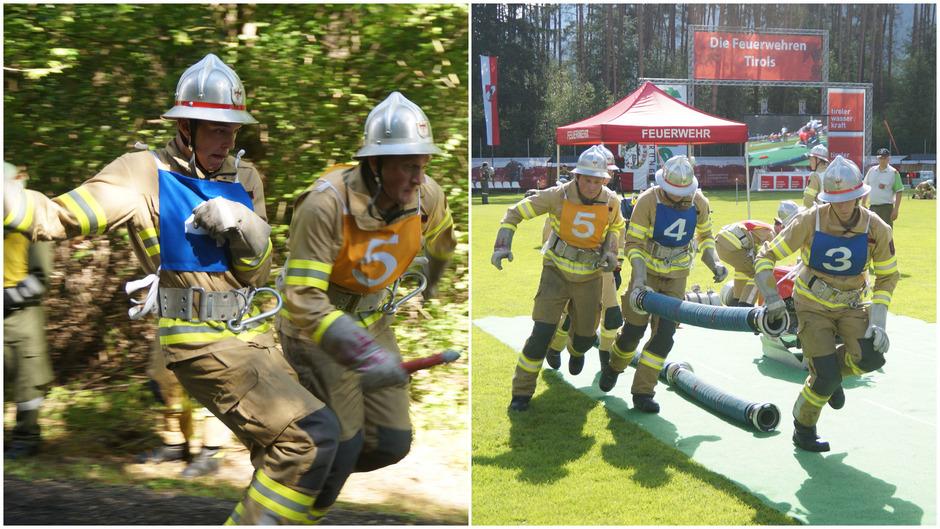 Am 24. und 25. Mai kämpfen 271 Feuerwehr-Gruppen gegen die Stoppuhr und sich selbst. Schnelligkeit und Präzision sind sowohl beim Staffellauf (l.) als auch auf dem Bewerbsplatz (r.) gefragt.