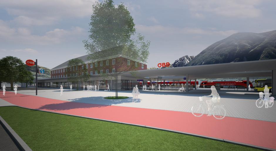 Visualisierungen zeigen die Gestaltung des Bahnhofsvorplatzes, einen Teil der Fußgänger- und Radfahrer-Unterführung sowie das Bus-Terminal (siehe Bilder im Artikel).