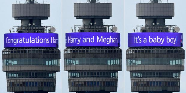 """In London verkündeten große Leuchtbuchstaben vom BT Tower: """"It's a baby boy!"""""""