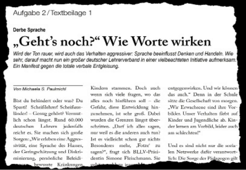 """Im dritten Aufgabenpaket """"Die Macht der Sprache"""" sollten die Schüler eine Meinungsrede zu einem in der Tiroler Tageszeitung erschienenen Artikel schreiben."""
