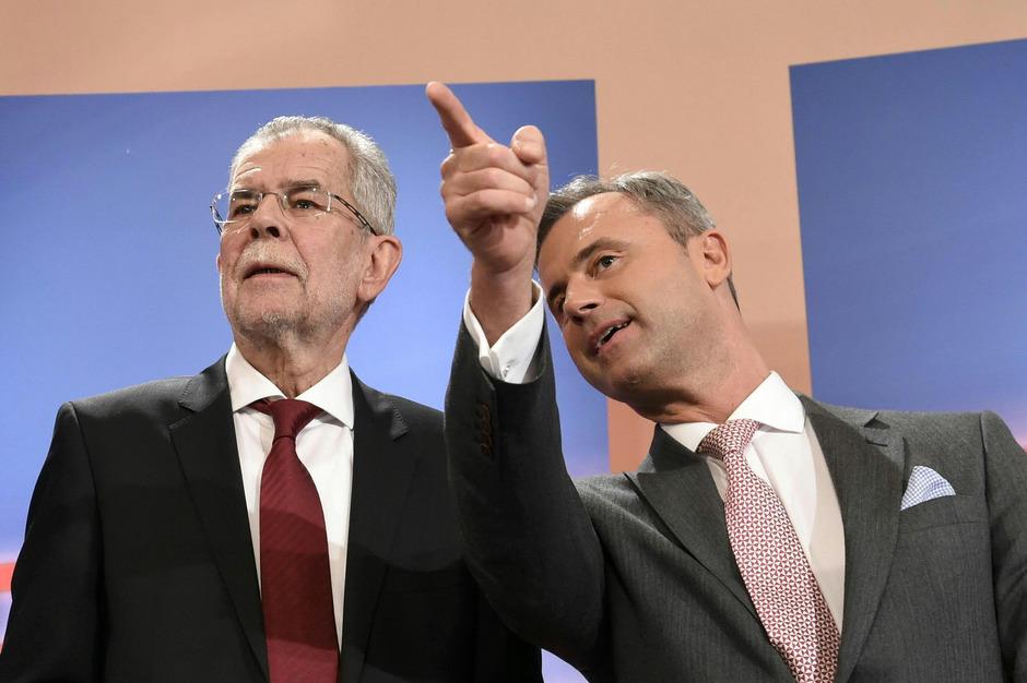 Die Stichwahl-Kandidaten Alexander Van der Bellen (li.) und Norbert Hofer.