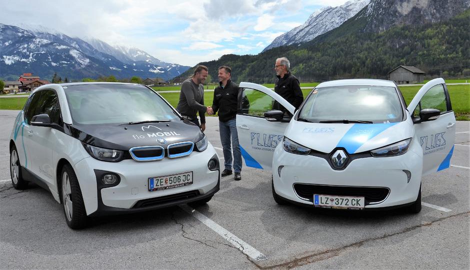 E-Car-Sharing-System Flugs aus Osttirol vernetzt sich mit dem Flo MOBIL der Wörgler Stadtwerke. .