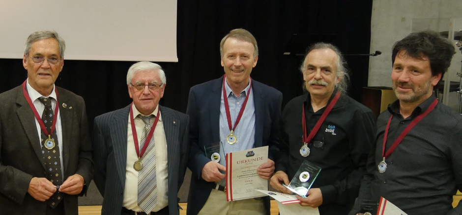 Die Filmemacher Erwin Weiskirchner, Fritz Hausewirth, Walter Wegscheider, Wolfgang Tschallener und Leo Lanthaler konnten die Jury mit ihren Werken überzeugen (v.l.).