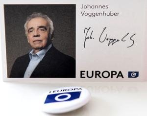 Noch schlichtere Wahlwerbung: Europa Jetzt setzt auf Spitzenkandidat Voggenhuber.