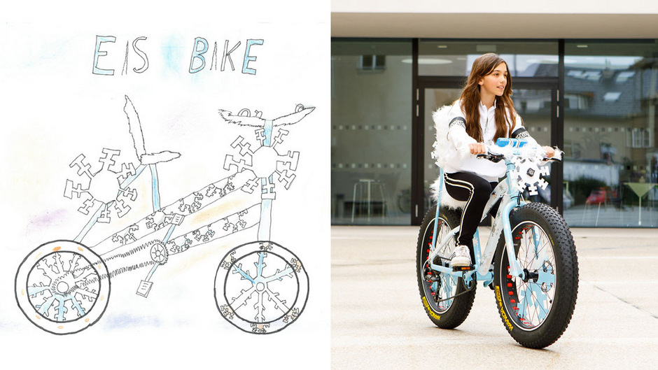 Unter rund 1000 eingereichten Zeichnungen holte sich Melina aus Kappl den ersten Platz beim Crazy Bike Malwettbewerb – ab sofort ist sie auf ihrem Eis-Bike unterwegs.