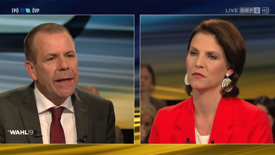 FPÖ-Spitzenkandidat Harald Vilimsky (l.) und ÖVP-Listenzweite Karoline Edtstadler im ORF-Duell.