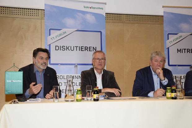 Armin Hofreiter (Bürgerinitiative), BM Josef Dillersberger, TT-CR Mario Zenhäusern (Moderator).